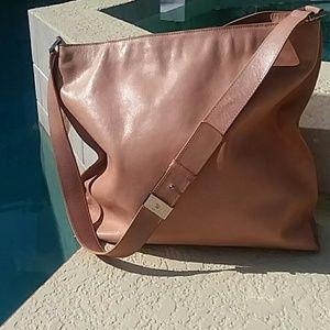 CALVIN KLEIN beige-pink leather tote handbag